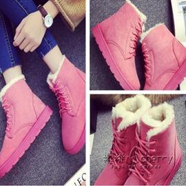 秋 雪地靴女鞋短筒短靴加絨加厚平跟保暖學生防滑棉鞋