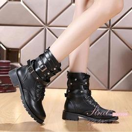保暖 女短靴英倫馬丁靴軍靴粗跟女靴子系帶短中筒靴女棉靴