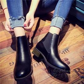 短靴~短靴 皮馬丁靴尖頭靴顯瘦套筒松緊帶方跟黑色女靴