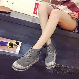 短靴~短靴馬丁靴英倫風系帶短筒女靴英倫靴休閒鞋反絨皮女