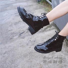 短靴~ 短靴女單靴子女靴粗跟鉚釘系帶馬丁靴中跟裸靴