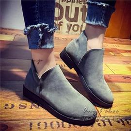 短靴~磨砂皮短靴學生百搭馬丁靴英倫風復古及裸靴女