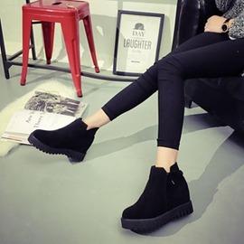 磨砂百搭女鞋平底厚底隱形內增高鞋短靴馬丁靴高幫側拉鏈