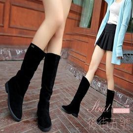 單靴平底低跟短靴絨面長靴內增高中筒靴磨砂皮學生女靴子