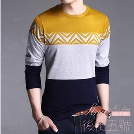秋裝 男士圓領長袖毛衣針織衫T恤中青年線衫休閒大碼羊毛