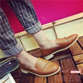 英倫布洛克女鞋學院風復古圓頭小皮鞋平底系帶牛津鞋平跟單鞋