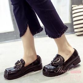 甜美圓頭單鞋英倫學院風愛心大頭皮鞋娃娃鞋低跟女鞋子