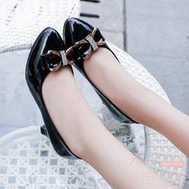 甜美蝴蝶結圓頭顯瘦淺口中跟女單鞋淑女黑白色粗跟低跟工作鞋