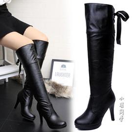 細跟長筒靴黑色女靴子高筒靴高跟過膝長靴防水臺皮靴馬靴