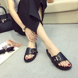 羅馬涼鞋 皮帶扣金屬露趾平跟女一字拖鞋沙灘黑色
