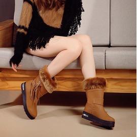 雪地靴女 防滑防水保暖厚底流蘇加絨加厚棉鞋子女靴中筒靴