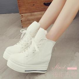 短靴內增高松糕跟女鞋帆布鞋高筒鞋學生鞋鞋潮流鞋