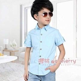 男童短袖襯衫 中大薄款夏裝 純棉上衣白色兒童襯衣