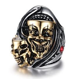 新品 朋克男士戒指搖滾鬼頭扳指戒子配飾骷髏頭金面具食指指環