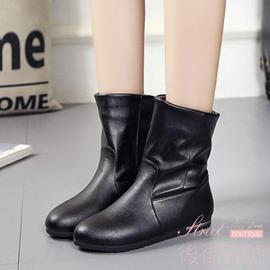女靴子英倫 平跟加棉保暖短筒馬丁靴套腳中筒靴女