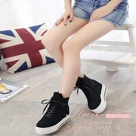 厚底松糕底系帶帆布鞋學院風短靴女士內增高馬丁靴女