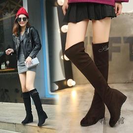 靴子女高筒內增高顯瘦坡跟長筒靴過膝長靴瘦腿彈力靴高跟 酷男 館