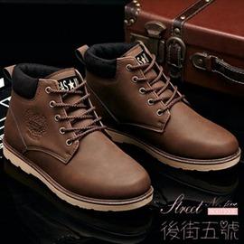 高筒男士馬丁靴潮流工裝沙漠靴厚底英倫軍靴 圓頭皮靴