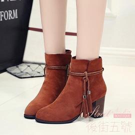 高跟流蘇靴女磨砂皮尖頭粗跟短靴 單靴及裸靴