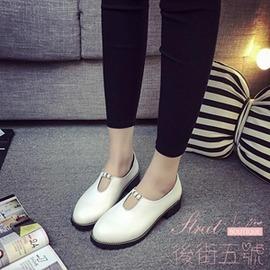 復古圓頭單鞋低跟系帶平底低幫英倫風小皮鞋女鞋潮流