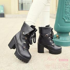 短靴女高跟粗跟厚底馬丁靴休閒系帶單靴子黑白大碼