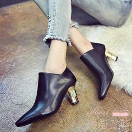 歐洲站 真短靴方頭踩腳單靴金屬跟高跟裸靴高皮端女鞋
