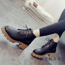 短靴女春秋單靴真皮系帶馬丁靴女英倫風學生機車靴子冬中筒靴 酷男 館