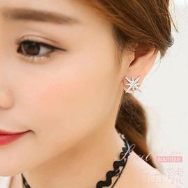韓國APM 雙面珍珠帶鉆耳釘女日 氣質簡約925純銀耳環防過敏