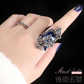 韓國夸張蝴蝶藍寶石戒指女日韓飾品潮人食指裝飾指環 兩件套戒