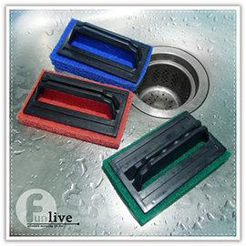 【Q禮品】A3082 握柄式菜瓜布刷/浴缸刷/除垢清潔刷/廚房/浴室/磁磚刷/水槽清潔刷/清潔布