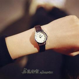 女士手錶女學生 潮流簡約休閒皮革 復古小錶盤細帶石英