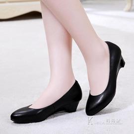 中低跟鞋真皮工作鞋女黑色坡跟單鞋正裝皮鞋中跟職業工裝女鞋瓢鞋