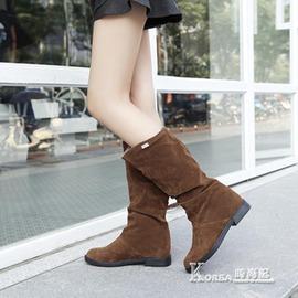 中筒靴 平底磨砂內增高套筒中筒靴休閒學生顯瘦百搭女靴
