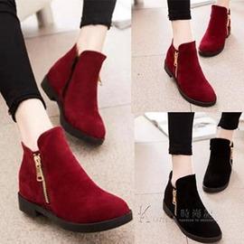 低筒靴女鞋絨面圓頭短靴粗跟 拉鍊馬丁靴子英倫風小皮鞋單鞋