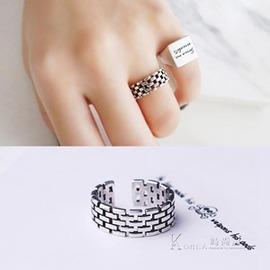 戒指S潮人 日韓國復古泰銀編織開口寬面食指戒指環情侶男女