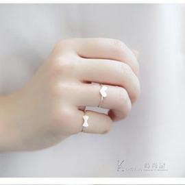 戒指日韓簡約清新甜美 愛心蝴蝶結食指開口戒指環女