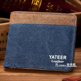 男士錢包短夾帆布短款薄款小票夾學生橫款皮夾卡包錢夾日韓青年票夾