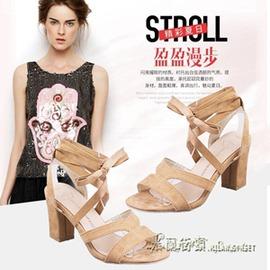 交叉綁帶粗跟中高跟涼鞋女夏系帶粗跟露趾女鞋子
