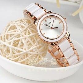 女士陶瓷手錶女白色韓國版潮流石英錶 休閒學生手鍊錶防水