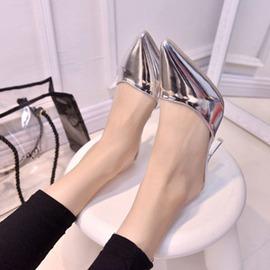 涼拖鞋子~只有一雙 銀色細跟半拖鞋包懶人涼拖鞋子 9 22 lgo