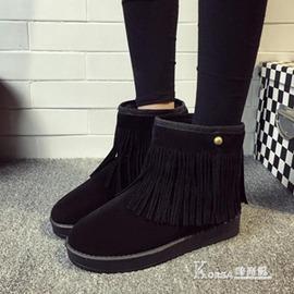 雪靴靴子平底防滑流蘇雪地靴女加厚絨短靴學生平跟短筒磨砂棉鞋