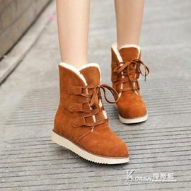 雪靴 雪地靴女中筒學生平底短靴甜美加厚保暖靴子