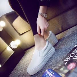 樂福鞋低筒皮面帆布鞋女 休閒鞋套腳單鞋厚底內增高女