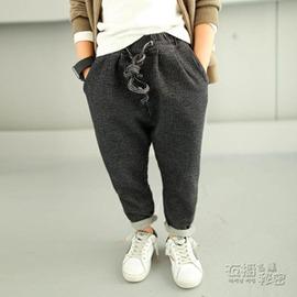 男童春秋褲子休閒褲 秋裝條紋寬鬆兒童黑色長褲 潮 衣秘密