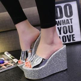 厚底防水臺涼拖女鞋 超高跟宴會前臺鞋性感亮片坡跟拖鞋夏 衣櫥秘密