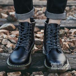 秋 棕黑色 潮流馬丁靴男靴子高邦皮鞋中筒皮靴英倫高筒短靴