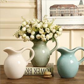 美式鄉村奶壺陶瓷花瓶擺件 歐式插花花器家居裝飾品仿真花藝  型男基地