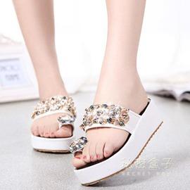 水鑽套趾涼拖鞋女沙灘串珠涼鞋鬆糕厚底顯白女拖鞋潮