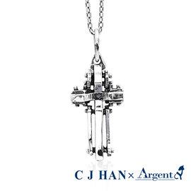 ~ARGENT安爵銀飾~ 師聯名~十字架系列~殿堂^(染黑^)~純銀項鍊