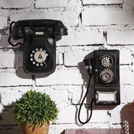 歐式復古做舊電話機壁掛 家居壁飾掛飾酒吧咖啡廳店鋪�棜掘佴�  型男基地